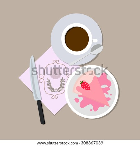 set coffee and cake with knife