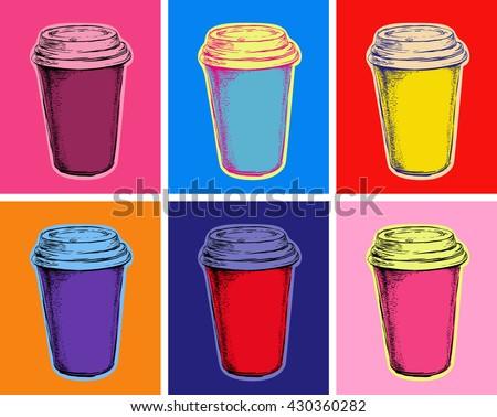 set coffee cups vector