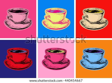 Set Coffee Mug Vector Illustration Pop Art Style
