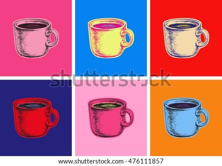 Set Coffee Mug Vector Illustration Pop Art Style