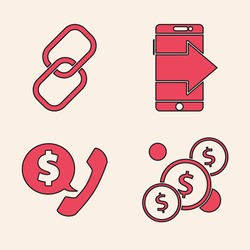 Set Coin money with dollar, Chain link, Smartphone, mobile phone and Telephone handset and speech bubble chat icon. Vector