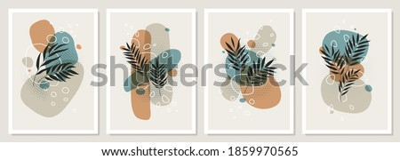Set collages of tropical leaves and colored geometric shapes, Abstract pastel scandinavian art design, can be used as flyer, poster, cover design, social media post