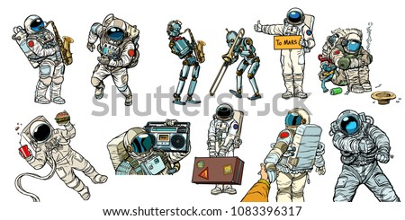 Set collection astronauts and robots. homeless traveler musician hitchhiker customer fast food. Comic book cartoon pop art retro vector illustration vintage kitsch