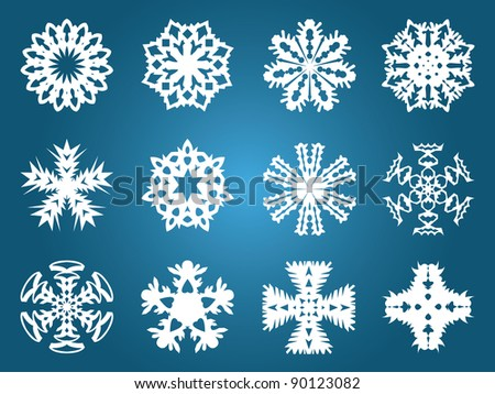 Set collection beautiful of vector snowflakes. Easy to edit.