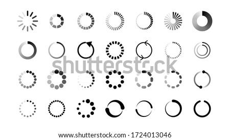 Set Collection Black Line Load Vector Design ストックフォト ©
