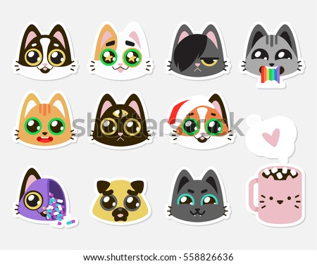 set collection of cute kawaii