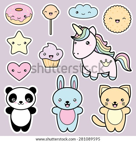 Set Collection Of Cute Kawaii Style Labels Decorative Design Elements