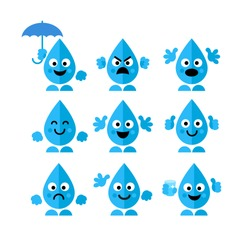 Set, collection of emotions water drop characters in flat style isolated on white background. Art vector illustration.