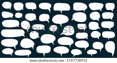 Set, collection of flat style vector speech bubbles, clouds, baloons. Talking, speaking, chatting, screaming, laughing, thinking, dreaming bubbles. Modern motion design shapes with rounded edges.