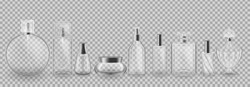 Set, collection of glass cosmetic packages. Realistic mock-up, templates, transparent cases, bottles, tubes, boxes, jars, bubbles, women's cosmetics and perfumes. Vector illustration.