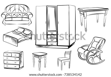 rocking chair drawing. Set Collection Of Icons Furniture In The Style Manual Drawing Lines. Linear Art. Toy Horse Rocking Chair