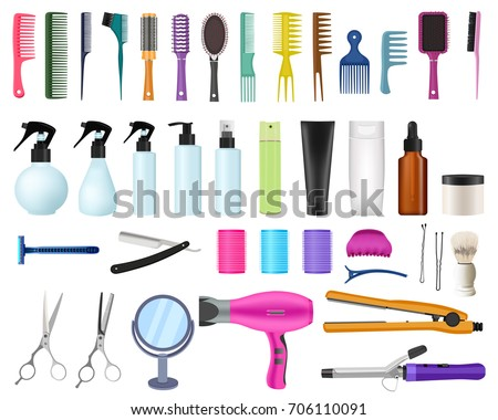 Set collection of professional    hairdresser and barber equipment tools. Shaver, razor, Hairdressing tools. Scissors, Hairdryer, Comb, curler, bottle and tube. Vector illustration, white background