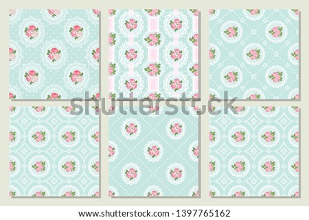 Set collection of shabby chic rose seamless pattern background. Vector illustration.