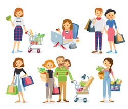 Set collection of shopping people walking with shopping cart, carrying shopping bags with purchases in supermarket. Character with basket in the store.Taking part in seasonal sale at store, shop, mall