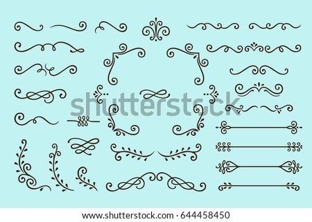 Set Collection of Vintage Ornament Elements on Blue Background