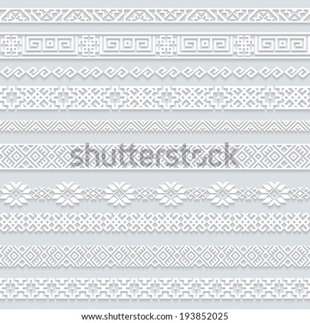 Set collection of white lace horizontal borders with shadow ornamental paper lines isolated on grey background Vector illustration