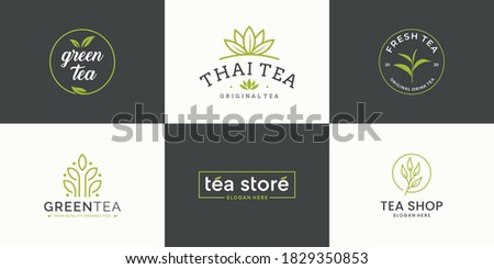 Set collection tea leaf logo design template. icon for tea shop, tea store, packaging product.