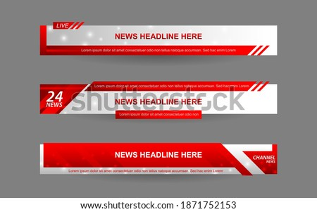 Set collection vector of Broadcast News Lower Thirds Template layout design banner for bar Headline news title, sport game in Television, Video and Media Channel Stock photo ©