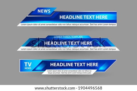 Set collection vector of Broadcast News Lower Thirds Template layout design banner for bar Headline news title, sport game in Television, Video and Media  Foto stock ©