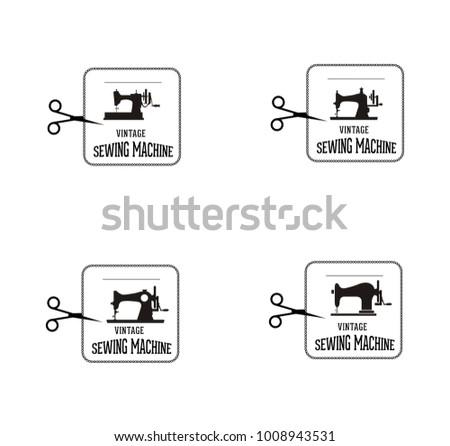 Set Of Vintage Sewing Machine Labels Download Free Vector Art