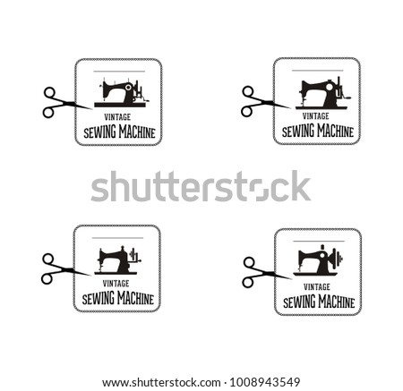 Set Of Vintage Sewing Machine Labels Download Free Vector Art