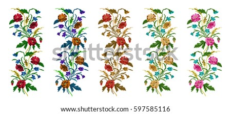 Cross stitch flower border set download free vector art stock color bouquet of flowers poppiesears of wheat and cornflowers using altavistaventures Image collections