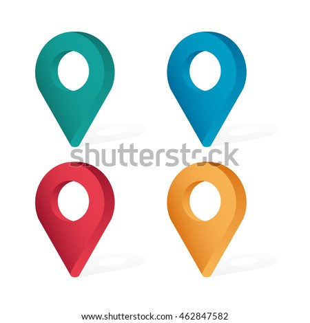 Set color maping pin location 3d vector icons