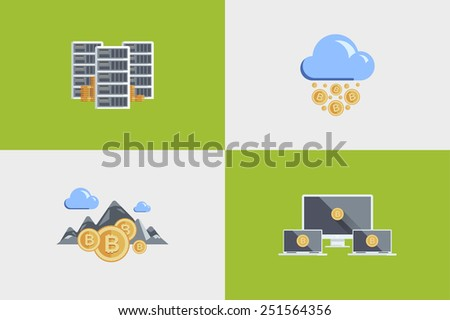 set colored flat illustration