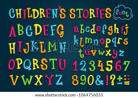 "set colored font ""children's stories."" Multicolored vector letters and numbers for decoration"