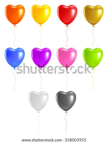 set colored heart balloons