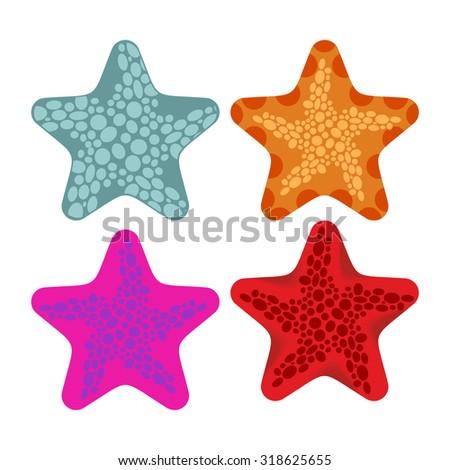 set colored starfish animals