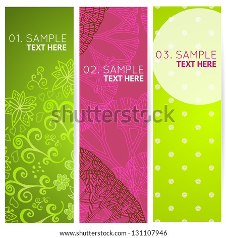 Set colorful 3 banners with abstract trees, polka dots and doodles. Vector illustration