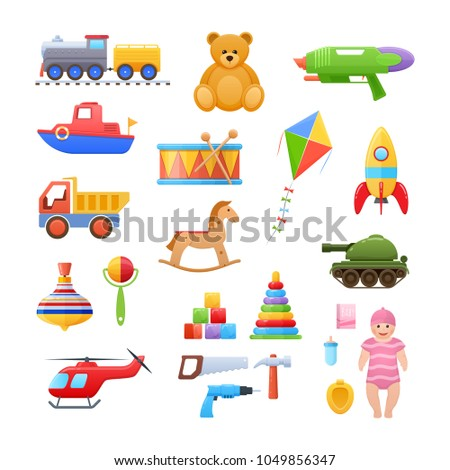 Set colorful children's toys cartoon. Toys for child to play. Store, garden, home games, educational, developing. Dolls, machinery, transport, animals, musical instruments. Illustration isolated.