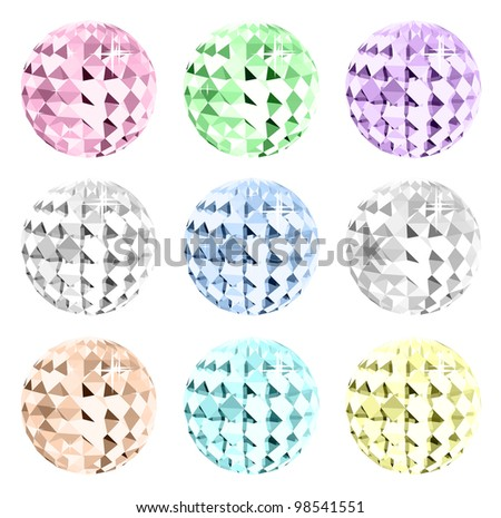 Set colorful crystal on black space. Vector