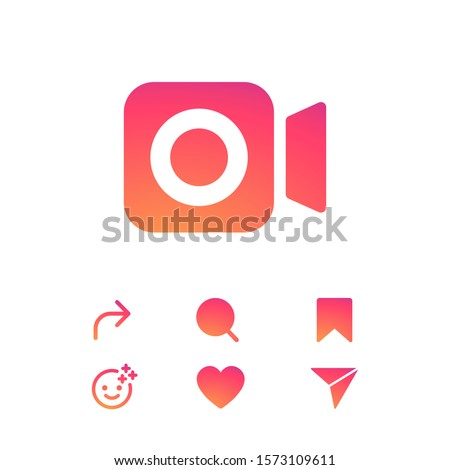 Set colorful gradient icons on a white background. Template web icons, symbols, signs stories. Social media Instagram concept. Vector illustration. EPS 10