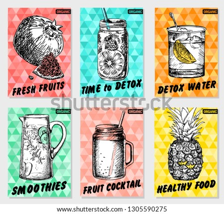 Set colorful healthy food posters. Smoothies, fresh fruit, detox. Sketch style, labels, hand drawn vector. #1305590275