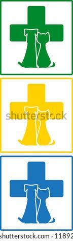 set colorful icon - symbol veterinary medicine in frame