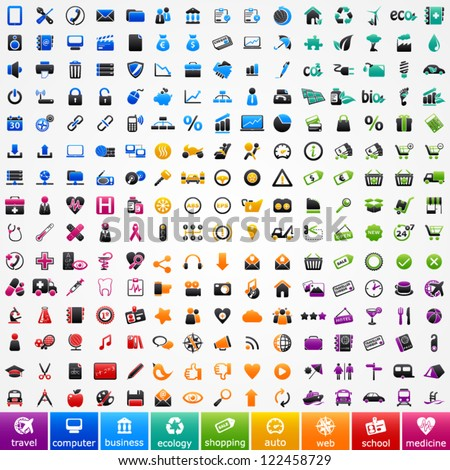 Set colorful icons: travel, computer, business, ecology, shopping, automotive, web, school and medicine