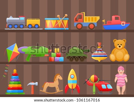 Set colorful kids children's toys cartoon. Toys for child, on shelf of cabinet. Store counter, home games, education. Dolls, machinery, transport, animals, musical instruments. Illustration isolated ストックフォト ©