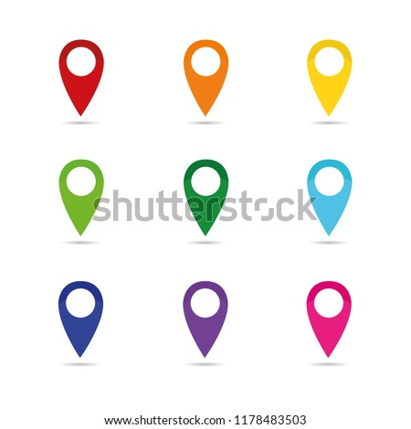 set colorful map pointer location pin icon marker flag symbol vector illustration EPS10