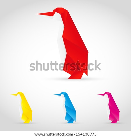 Set colorful penguins