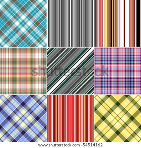 Set colorful repeating patterns (vector, EPS 10)