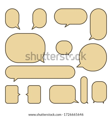 Set colorful speech bubbles on a white background, vector speaking or talk bubble