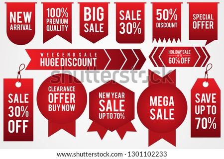 Set colorful sticker discount label templates with different percentages and shaped. Flat labels for advertising. Vector illustration EPS.8 EPS.10