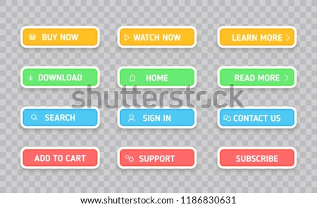 Set colors buttons. Different colors and icons. Vector illustration.