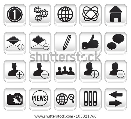 set community buttons icons - part 1 - vector icon