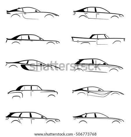 Set concept black car silhouette on white background. Vector collection.