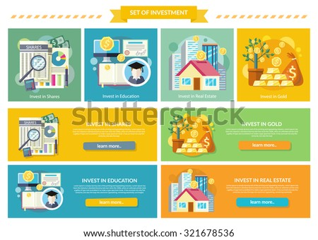 Set concept investment flat style. Gold and education, real estate and property, shares investing, business and wealth, invest potential offer, studies and growth, fund and profit, money illustration