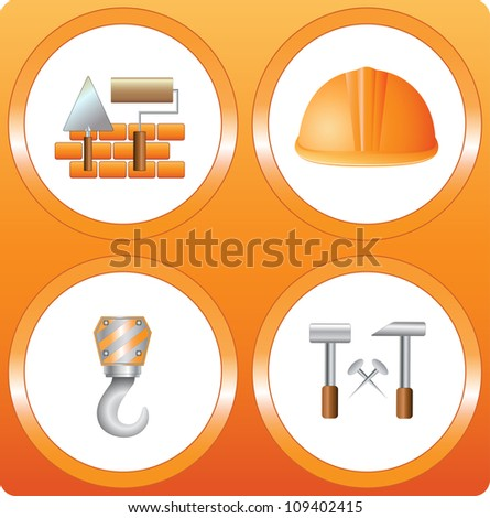 set construction sign - bricks, helmet, hammer, house, hook, roller and trowel