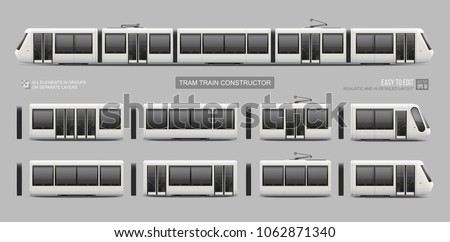 Set constructor of passenger Tram Train, Streetcar - vector mockup template. Tramcar, Light rail train constructor for your design. City Electric transport Isolated on grey